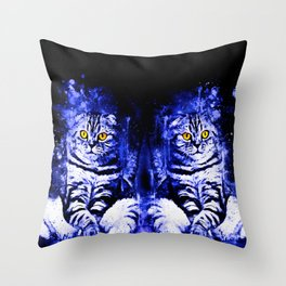 cat sitting like human ws db Throw Pillow