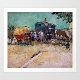 Vincent Van Gogh - Caravans, Gypsy Camp near Arles Art Print