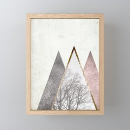 Nordic geometric pattern with trees in rose gold Framed Mini Art Print