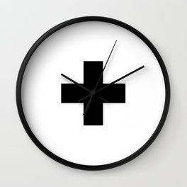 Swiss Cross white and black Swiss Design for minimalist home room wall art decor for apartment Wall Clock