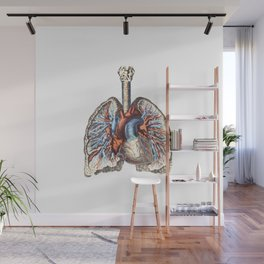 Fill Your Lungs. Vintage Colour Print Illustration Wall Mural
