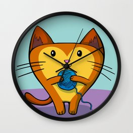 A Kitten that loves Sewing Wall Clock