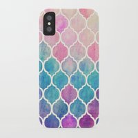 shapes iPhone & iPod Cases featuring Rainbow Pastel Watercolor Moroccan Pattern by micklyn