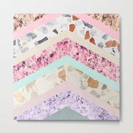 Modern pastel pink lavender color block marble chevron Metal Print