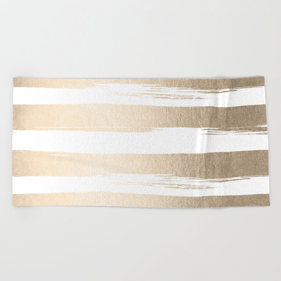 White Gold Sands Painted Thick Stripes Beach Towel