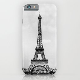 Eiffel tower in B&W with painterly effect iPhone Case