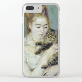 Auguste Renoir - Woman With A Cat, Clear iPhone Case
