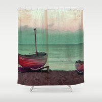 sailboat Shower Curtains featuring Sailboat by Regan's World