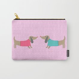 Cute dogs in love with dots in pink background Carry-All Pouch
