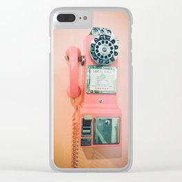 Pink Vintage Telephone Clear iPhone Case