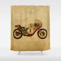 ducati Shower Curtains featuring Ducati Number 9 by Larsson Stevensem