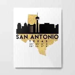 SAN ANTONIO TEXAS SILHOUETTE SKYLINE MAP ART Metal Print