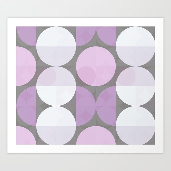 pink grey circular pattern Art Print