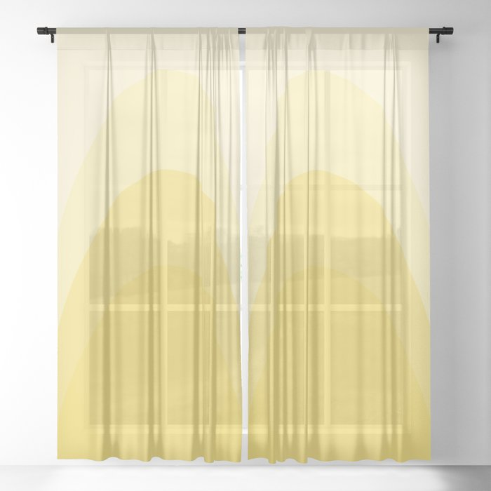 Four Shades of Yellow Curved Sheer Curtain