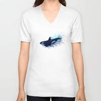 biology V-neck T-shirts featuring Lost in Fantasy ~ Orca ~ Killer Whale by Amber Marine