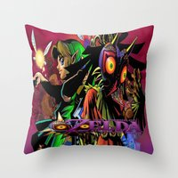 majoras mask Throw Pillows featuring Zelda Majora's mask by ezmaya