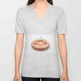 on a wooden plank lies garlic mashed as well as knoll Unisex V-Neck