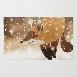 Sneaky smart fox in snowy forest winter snowflakes drawing Rug