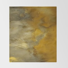 Gold and Bronze Watercolor Throw Blanket