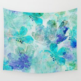 blue turquoise mixed media flower illustration Wall Tapestry