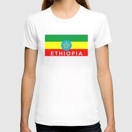 Ethiopia country flag name text T-shirt