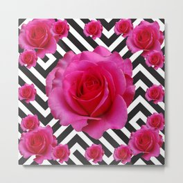 CONTEMPORARY  PINK ROSES B&W ABSTRACT Metal Print