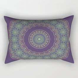 Lotus Mandala in Dark Purple Rectangular Pillow