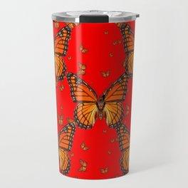 ORANGE MONARCH BUTTERFLIES RED MODERN ART MONTAGE Travel Mug