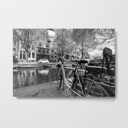 Bicycles and boats along Amsterdam canal Metal Print