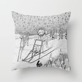 Kick-sledding Fox Throw Pillow