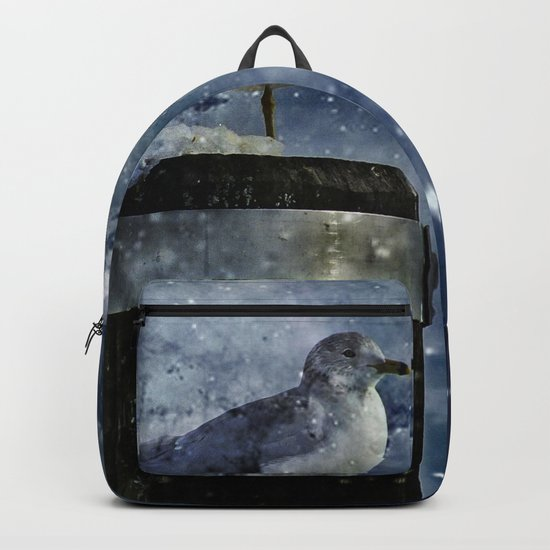 One Legged Seagull in a Snowstorm with Stars in His Eyes Backpack