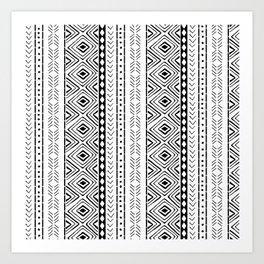 White Mudcloth Art Print