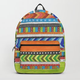 brightly colored patterned stripes Backpack