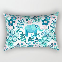 Dusty Pink, White and Teal Elephant and Floral Watercolor Pattern Rectangular Pillow