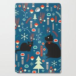 Black kitties in winter Cutting Board
