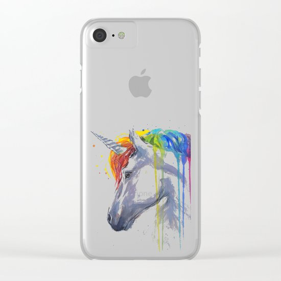 Rainbow Unicorn Watercolor Clear iPhone Case