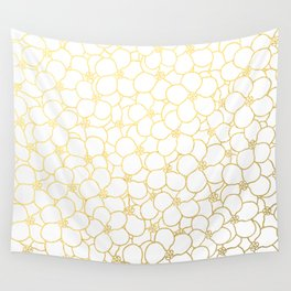 Forget Me Knot White Gold Wall Tapestry
