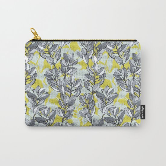 Leaf and Berry Sketch Pattern in Mustard and Ash Carry-All Pouch