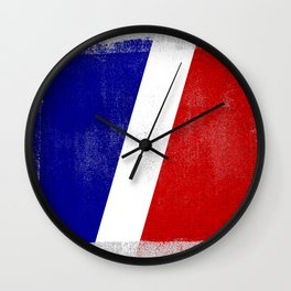 French Distressed Halftone Denim Flag Wall Clock