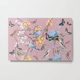 BIRDS, BLOSSOMS & BUTTERFLIES BLUSH Metal Print