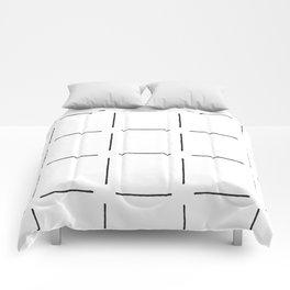 Block Print Simple Squares in Black & White Comforters