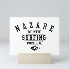 NAZARE BIG WAVE SURFING DISTRSSED LOOK BY SUBGIRL Mini Art Print