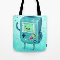 game Tote Bags featuring Game Beemo by Lime