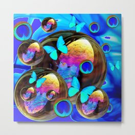 SURREAL NEON BLUE BUTTERFLIES IRIDESCENT SOAP BUBBLES PEACOCK EYES Metal Print