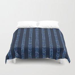 Indigo blue graphic herringbone stitch seamless pattern. Duvet Cover