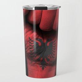 Albanian Flag on a Raised Clenched Fist Travel Mug
