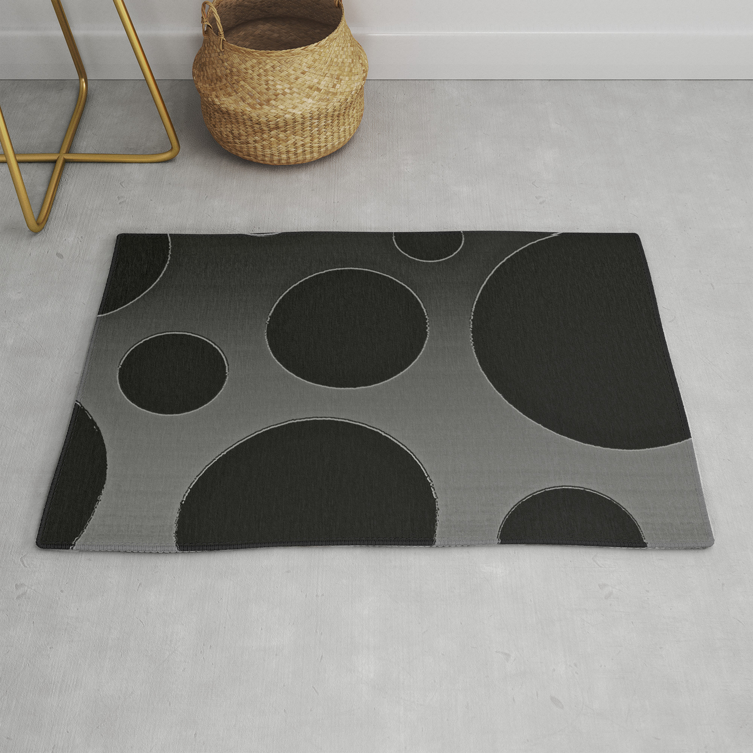 Contemporary Circle Silver And Black Rug By Saundramyles