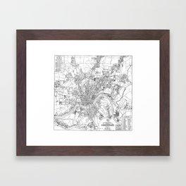 Vintage Map of Cincinnati Ohio (1915) BW Framed Art Print