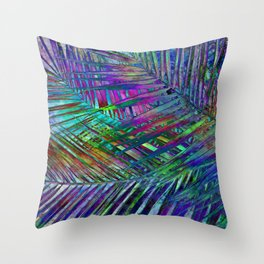 Multicolor Palm Leaves 2 Throw Pillow