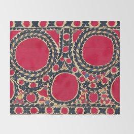 Tashkent Uzbekistan Central Asian Suzani Embroidery Print Throw Blanket